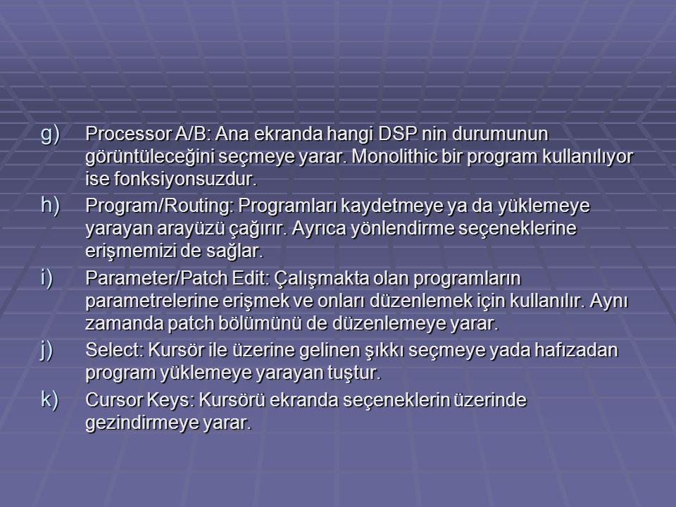 Processor A/B: Ana ekranda hangi DSP nin durumunun görüntüleceğini seçmeye yarar. Monolithic bir program kullanılıyor ise fonksiyonsuzdur.