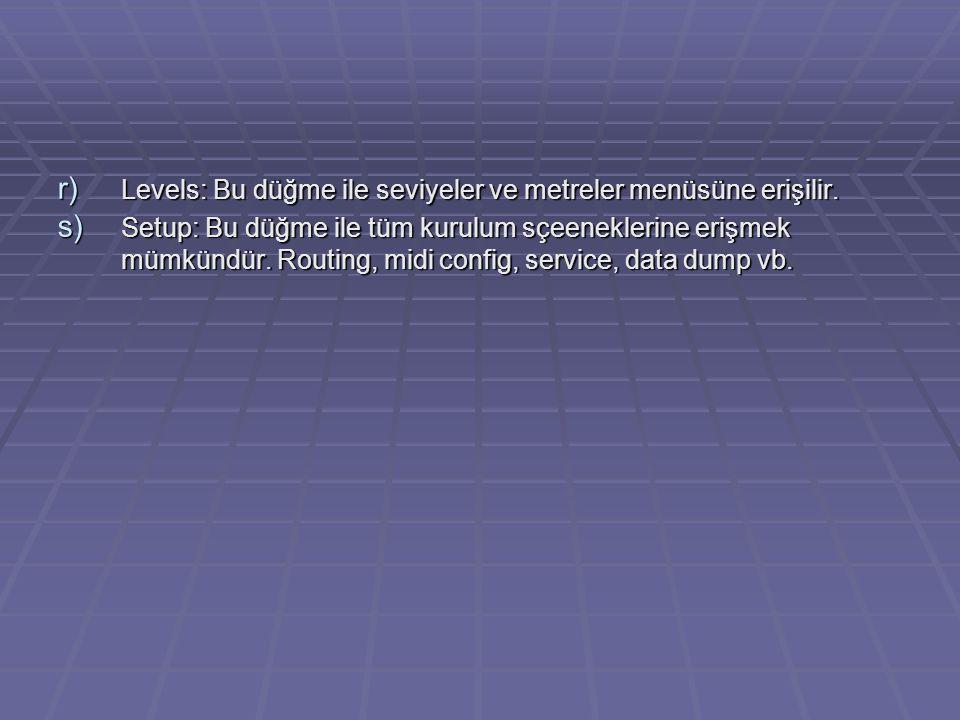 Levels: Bu düğme ile seviyeler ve metreler menüsüne erişilir.