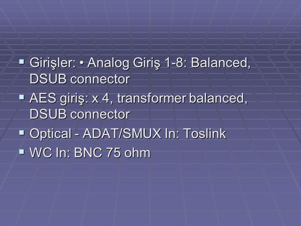Girişler: • Analog Giriş 1-8: Balanced, DSUB connector