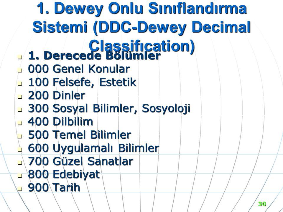 1. Dewey Onlu Sınıflandırma Sistemi (DDC-Dewey Decimal Classifıcation)