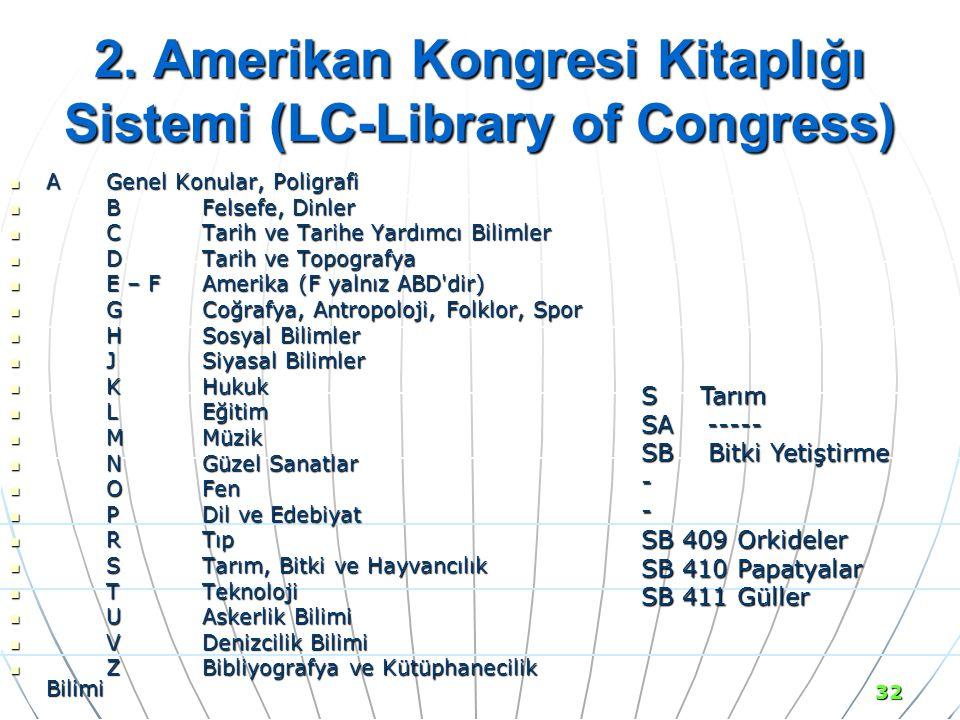 2. Amerikan Kongresi Kitaplığı Sistemi (LC-Library of Congress)
