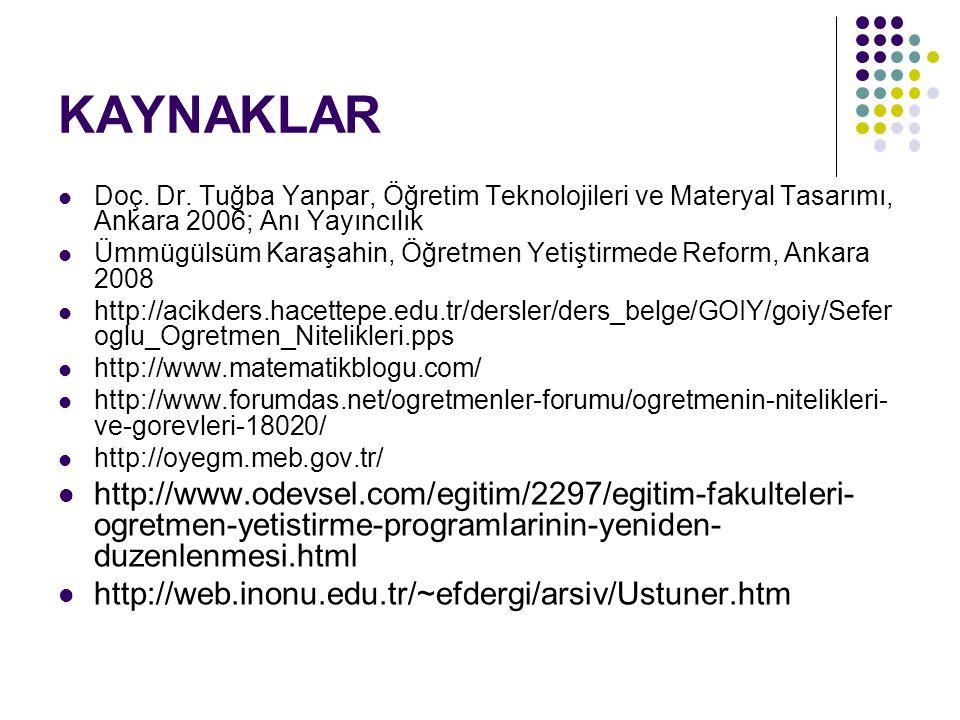 KAYNAKLAR Doç. Dr. Tuğba Yanpar, Öğretim Teknolojileri ve Materyal Tasarımı, Ankara 2006; Anı Yayıncılık.