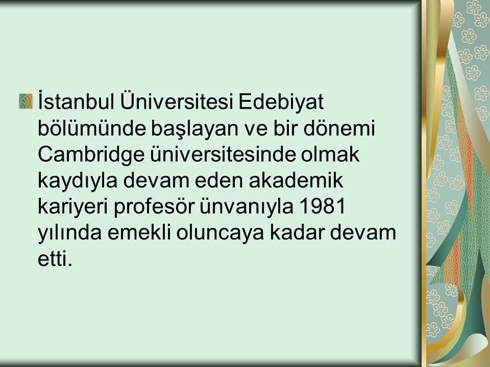 İstanbul Üniversitesi Edebiyat bölümünde başlayan ve bir dönemi Cambridge üniversitesinde olmak kaydıyla devam eden akademik kariyeri profesör ünvanıyla 1981 yılında emekli oluncaya kadar devam etti.