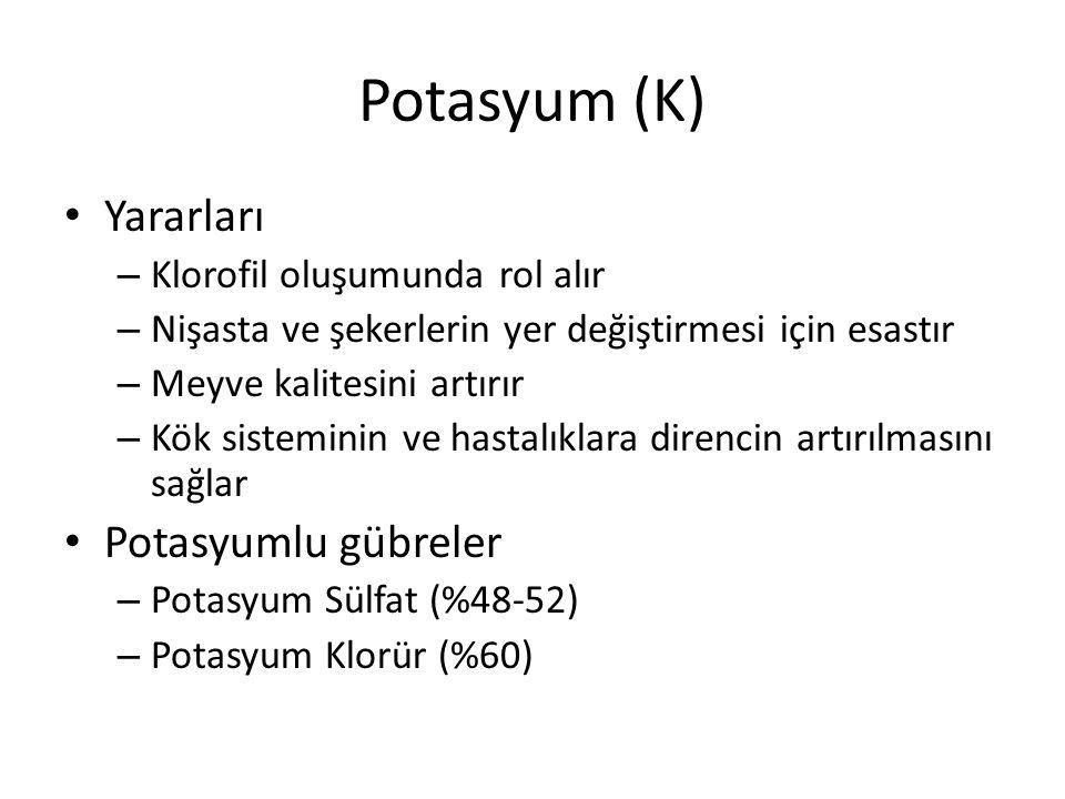 Potasyum (K) Yararları Potasyumlu gübreler