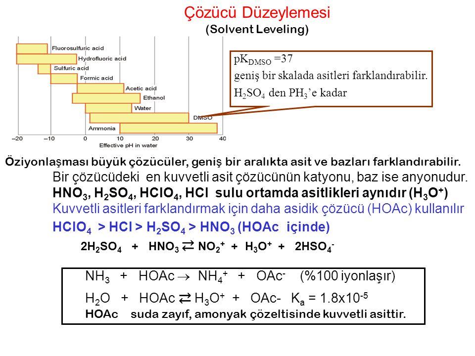 Çözücü Düzeylemesi (Solvent Leveling) pKDMSO =37. geniş bir skalada asitleri farklandırabilir. H2SO4 den PH3'e kadar.