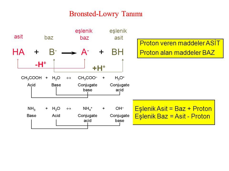 HA + B- A- + BH Bronsted-Lowry Tanımı -H+ +H+