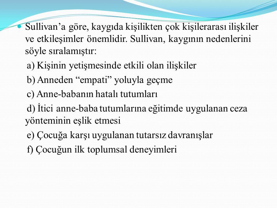Sullivan'a göre, kaygıda kişilikten çok kişilerarası ilişkiler ve etkileşimler önemlidir. Sullivan, kaygının nedenlerini söyle sıralamıştır: