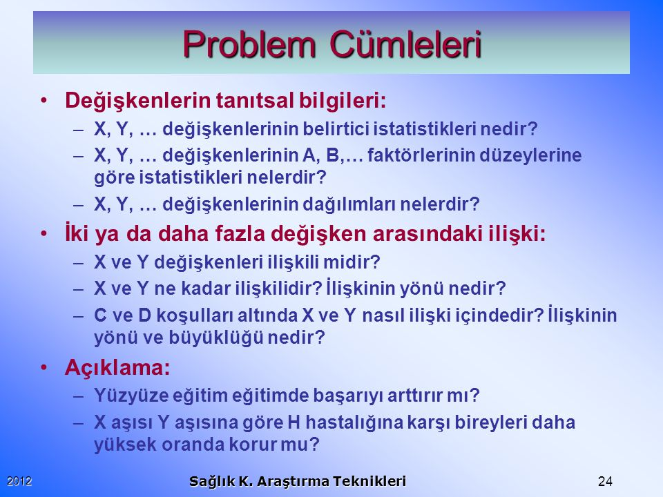Problem Cümleleri Değişkenlerin tanıtsal bilgileri: