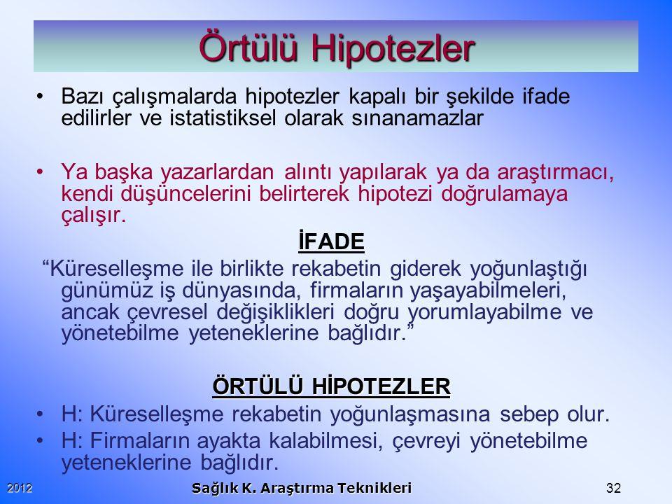 Örtülü Hipotezler Bazı çalışmalarda hipotezler kapalı bir şekilde ifade edilirler ve istatistiksel olarak sınanamazlar.