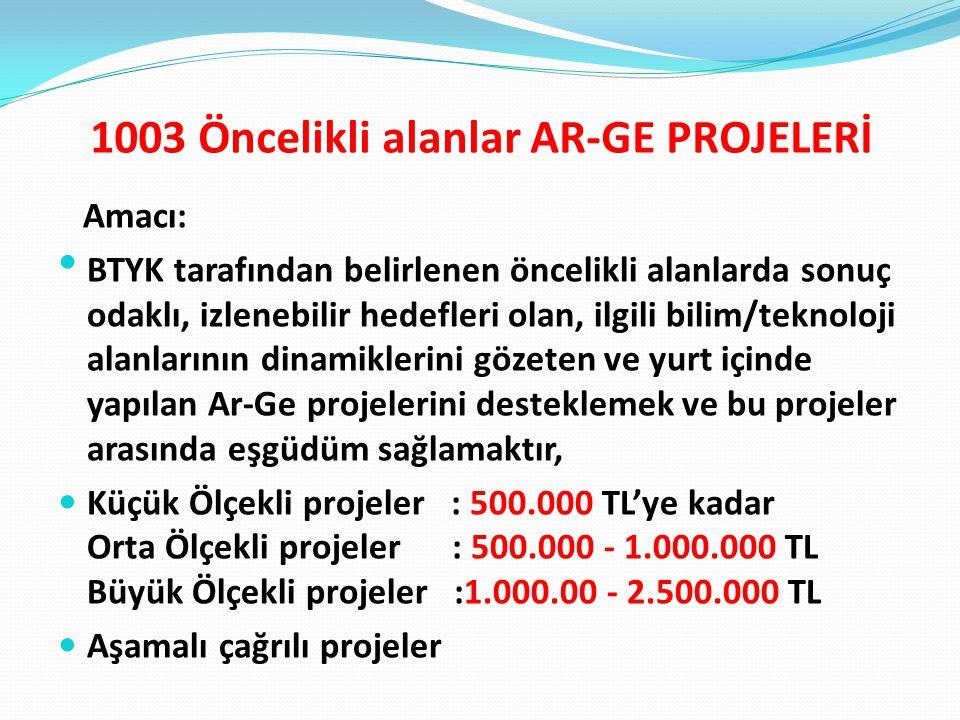 1003 Öncelikli alanlar AR-GE PROJELERİ