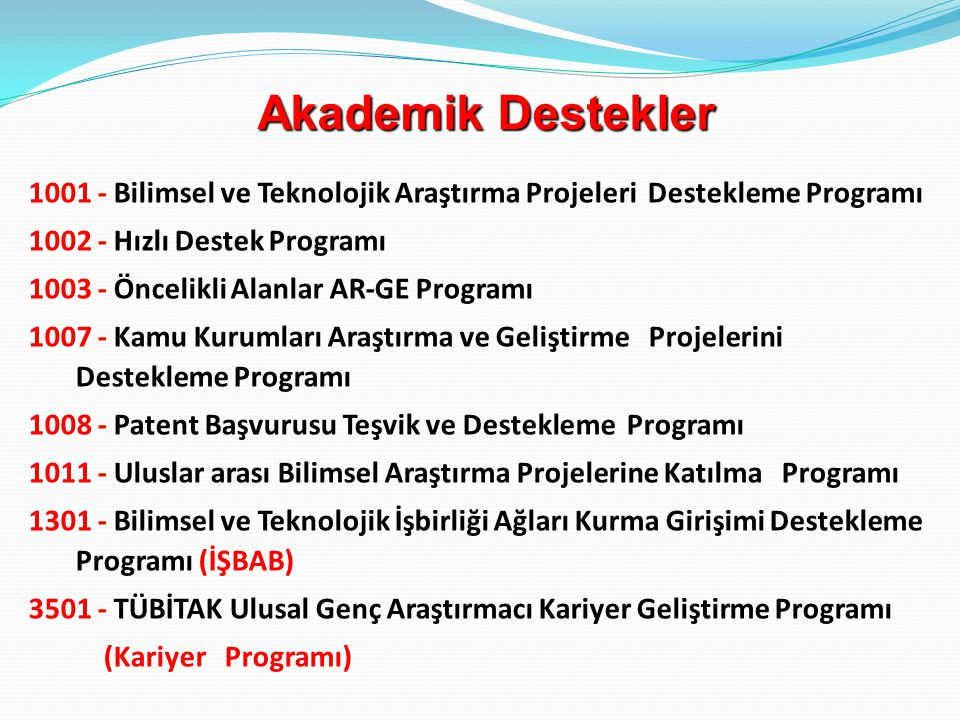 Akademik Destekler 1001 - Bilimsel ve Teknolojik Araştırma Projeleri Destekleme Programı. 1002 - Hızlı Destek Programı.