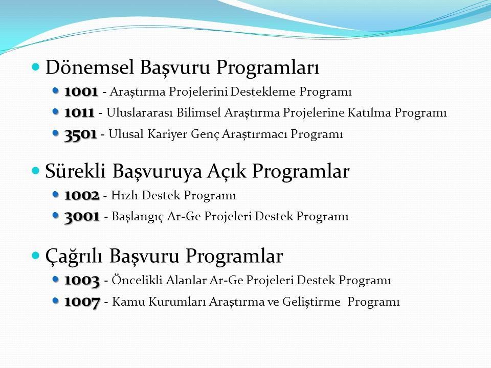 Dönemsel Başvuru Programları