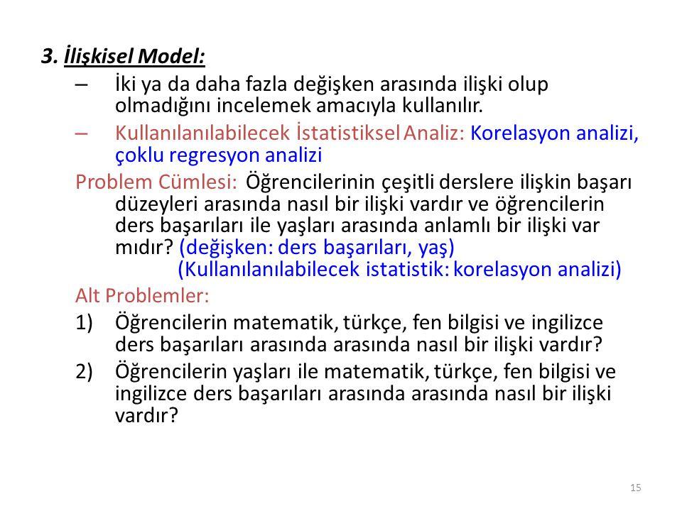 3. İlişkisel Model: İki ya da daha fazla değişken arasında ilişki olup olmadığını incelemek amacıyla kullanılır.