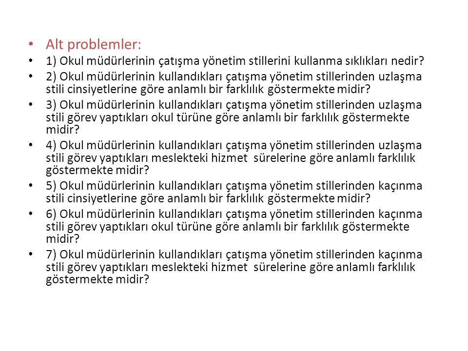 Alt problemler: 1) Okul müdürlerinin çatışma yönetim stillerini kullanma sıklıkları nedir