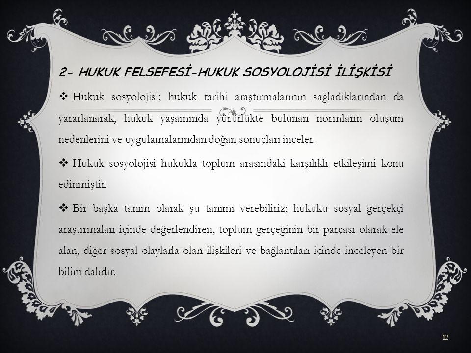 2- HUKUK FELSEFESİ-HUKUK SOSYOLOJİSİ İLİŞKİSİ