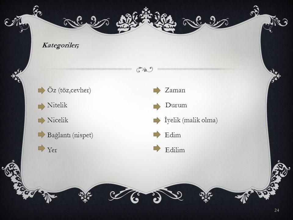Kategoriler; Öz (töz,cevher) Zaman Nitelik Durum Nicelik İyelik (malik olma) Bağlantı (nispet) Edim Yer Edilim
