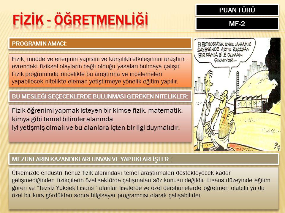 FİZİK - ÖĞRETMENLİĞİ PUAN TÜRÜ MF-2