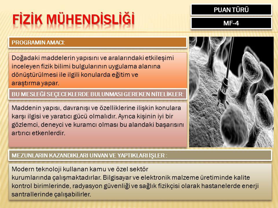 FİZİK MÜHENDİSLİĞİ PUAN TÜRÜ MF-4