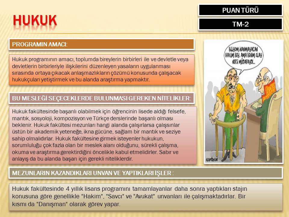 HUKUK PUAN TÜRÜ TM-2 PROGRAMIN AMACI: