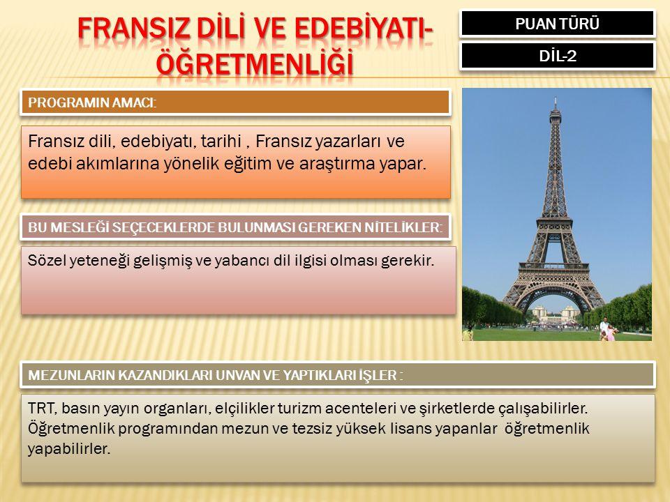 FRANSIZ DİLİ VE EDEBİYATI-ÖĞRETMENLİĞİ