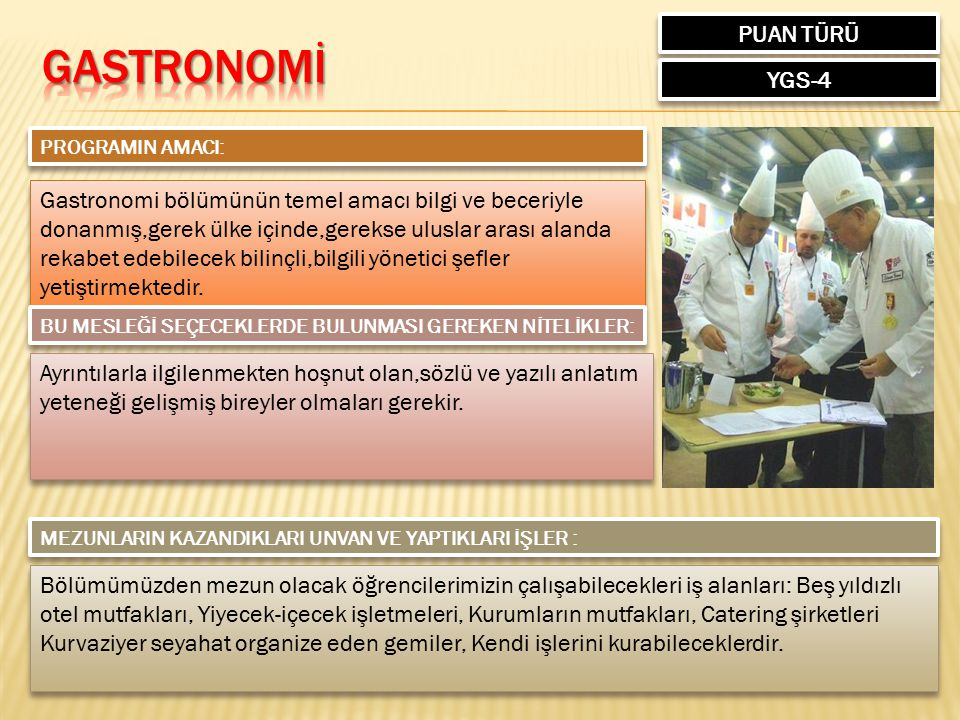 GASTRONOMİ PUAN TÜRÜ YGS-4