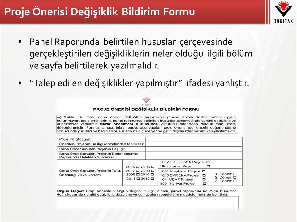 Proje Önerisi Değişiklik Bildirim Formu