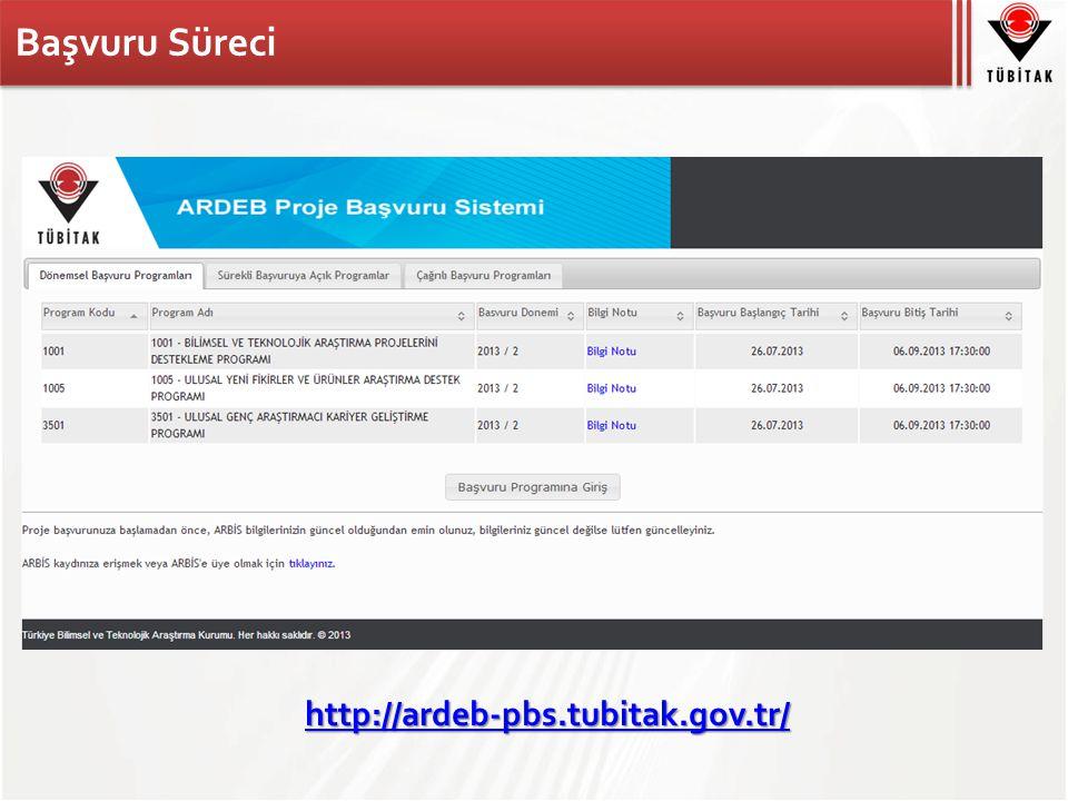 Başvuru Süreci http://ardeb-pbs.tubitak.gov.tr/