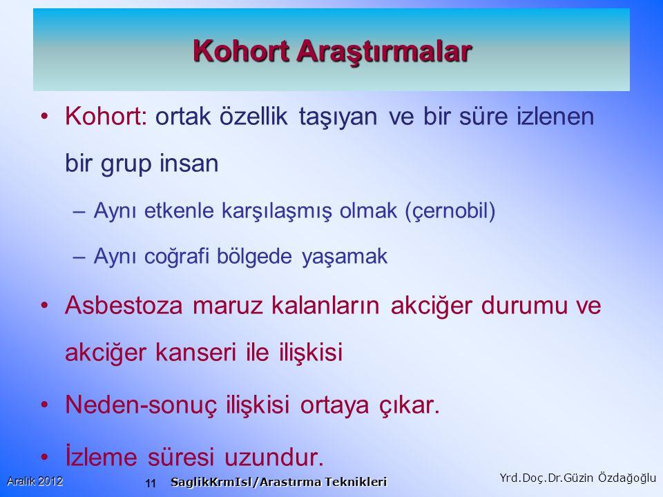 Kohort Araştırmalar Kohort: ortak özellik taşıyan ve bir süre izlenen bir grup insan. Aynı etkenle karşılaşmış olmak (çernobil)