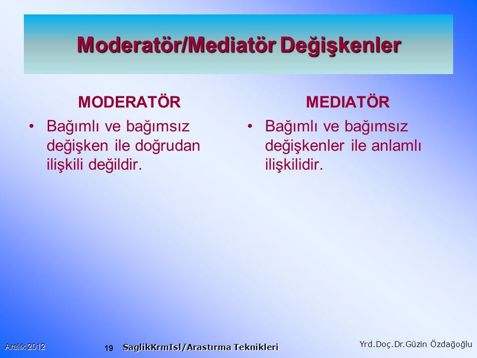 Moderatör/Mediatör Değişkenler