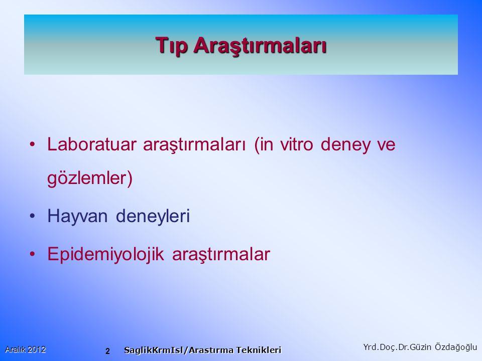 Tıp Araştırmaları Laboratuar araştırmaları (in vitro deney ve gözlemler) Hayvan deneyleri.