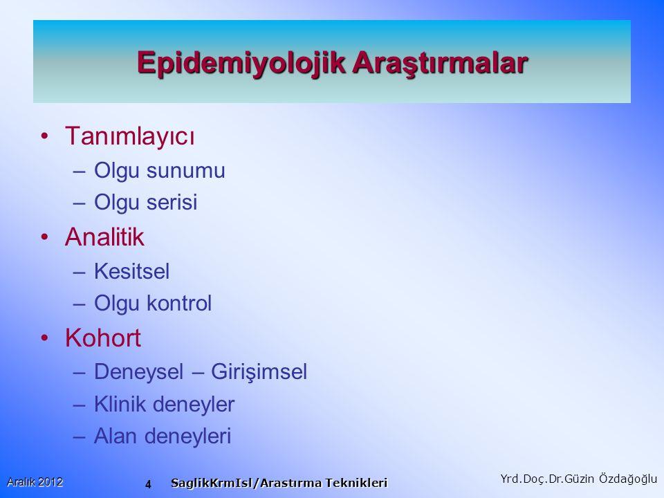 Epidemiyolojik Araştırmalar