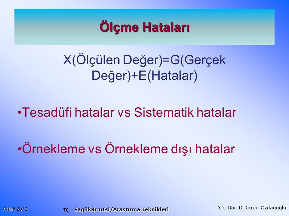 X(Ölçülen Değer)=G(Gerçek Değer)+E(Hatalar)