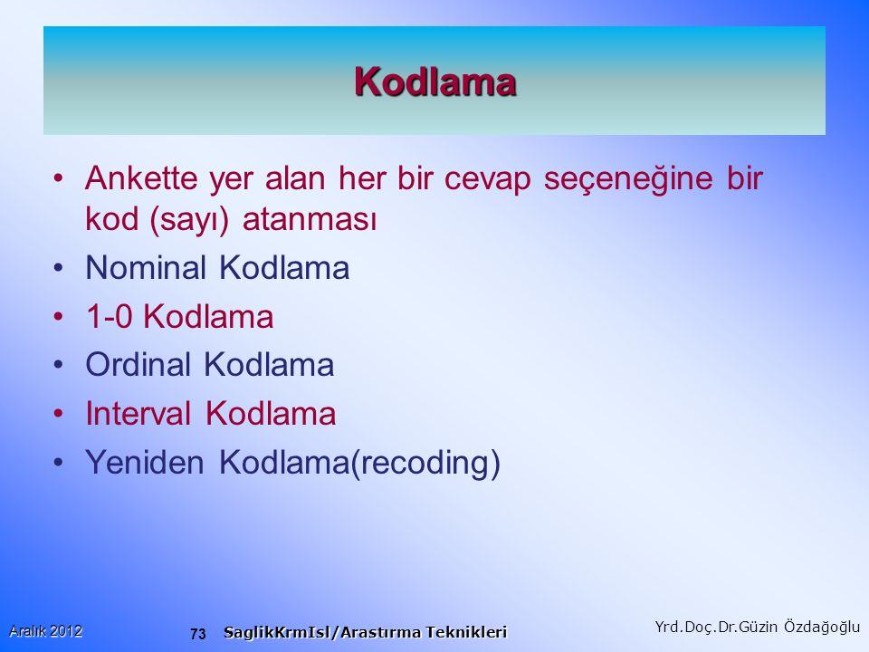 Kodlama Ankette yer alan her bir cevap seçeneğine bir kod (sayı) atanması. Nominal Kodlama. 1-0 Kodlama.
