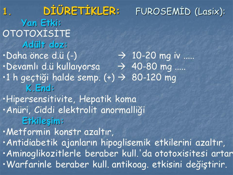 DİÜRETİKLER: FUROSEMİD (Lasix):