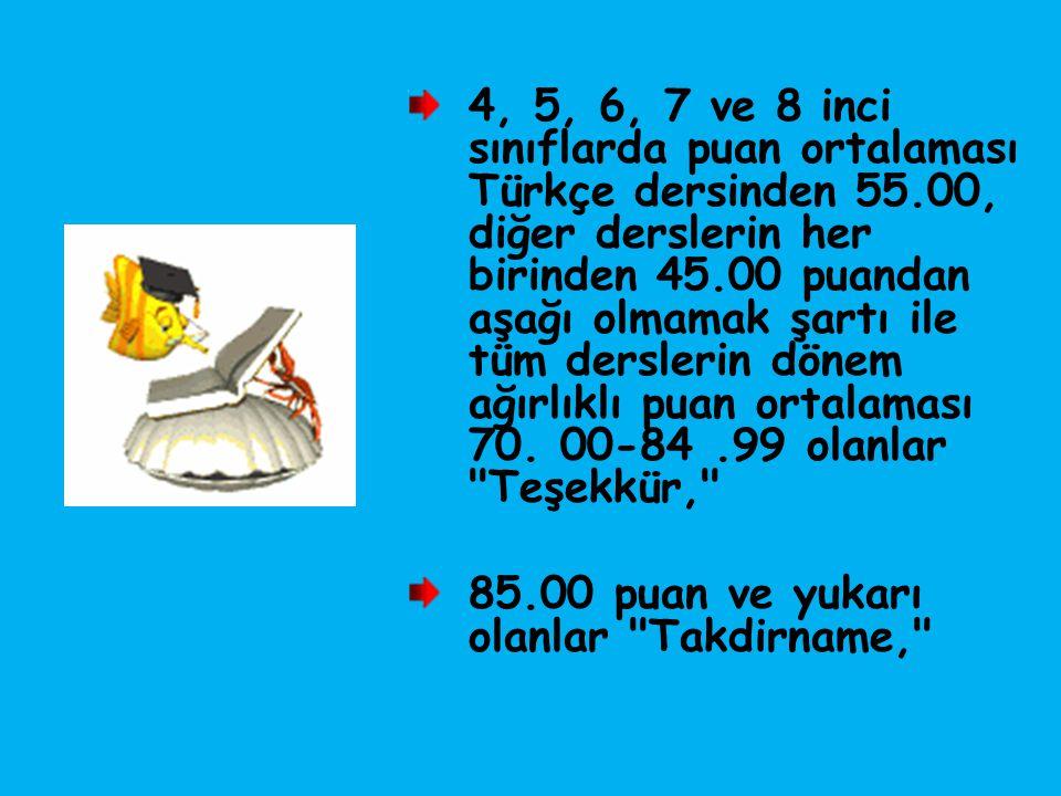 4, 5, 6, 7 ve 8 inci sınıflarda puan ortalaması Türkçe dersinden 55