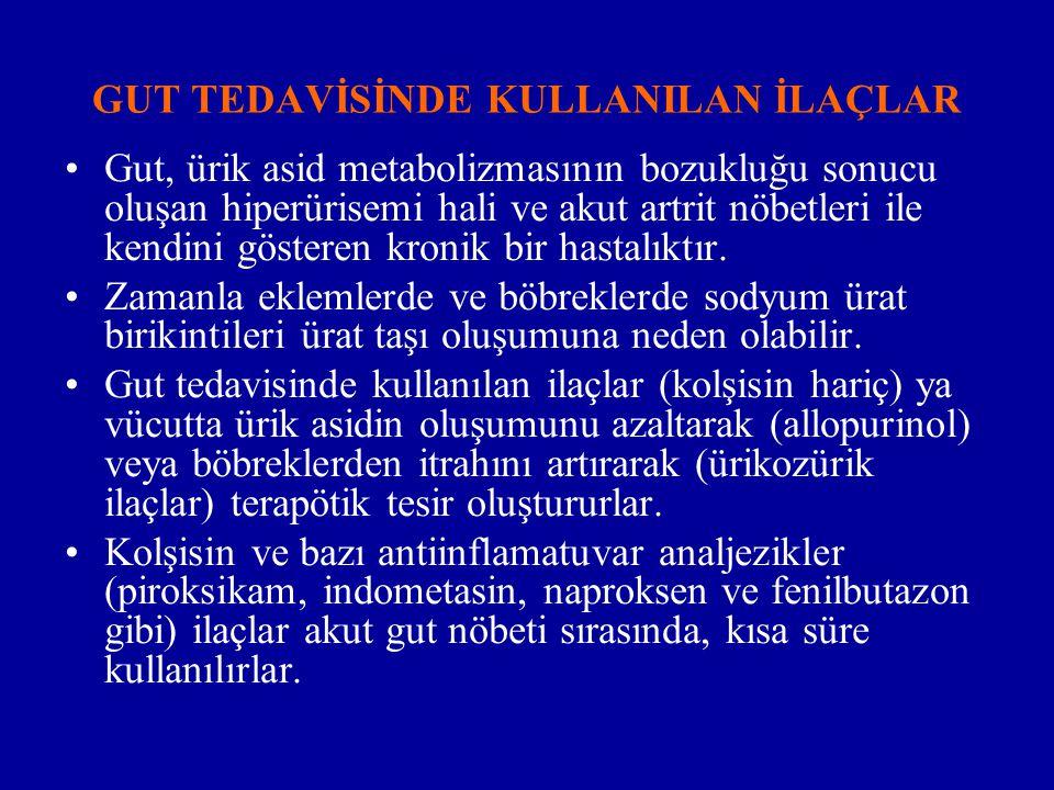 GUT TEDAVİSİNDE KULLANILAN İLAÇLAR