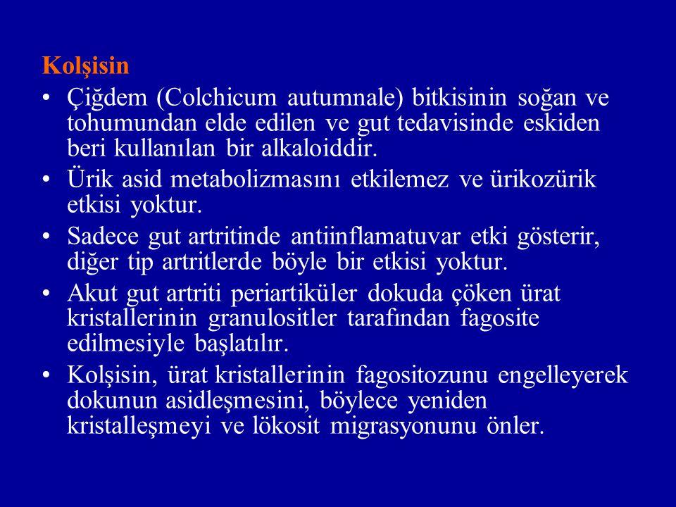 Kolşisin Çiğdem (Colchicum autumnale) bitkisinin soğan ve tohumundan elde edilen ve gut tedavisinde eskiden beri kullanılan bir alkaloiddir.