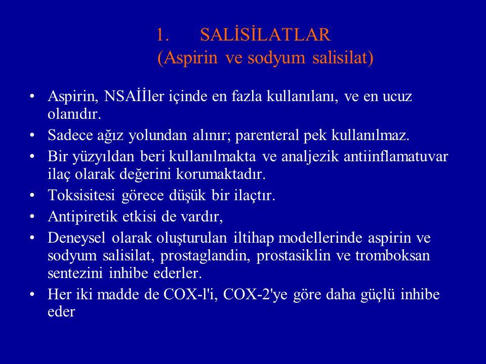 SALİSİLATLAR (Aspirin ve sodyum salisilat)
