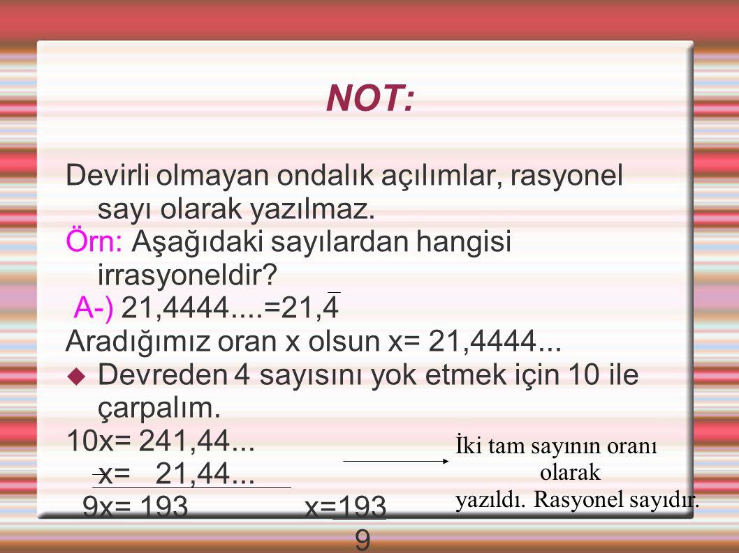 NOT: Devirli olmayan ondalık açılımlar, rasyonel sayı olarak yazılmaz.