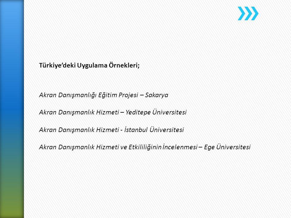 Türkiye'deki Uygulama Örnekleri;