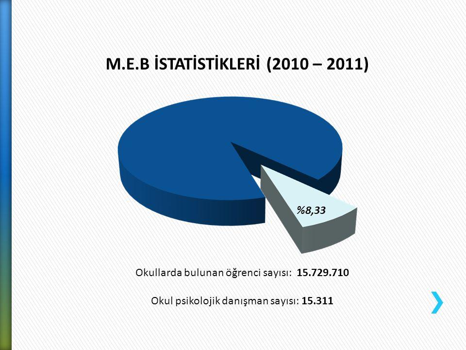 M.E.B İSTATİSTİKLERİ (2010 – 2011)