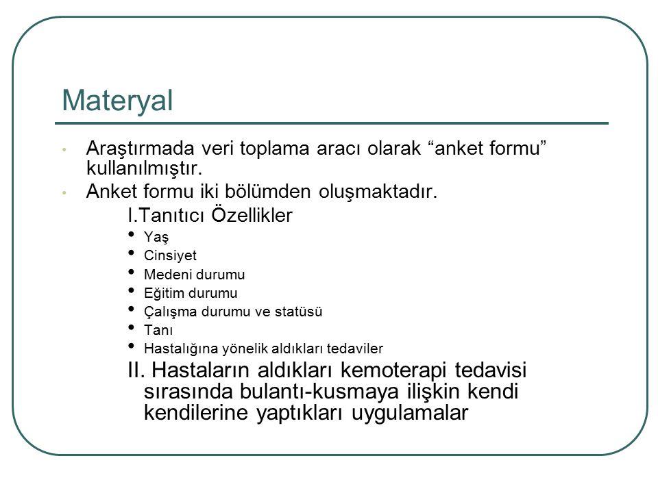Materyal Araştırmada veri toplama aracı olarak anket formu kullanılmıştır. Anket formu iki bölümden oluşmaktadır.