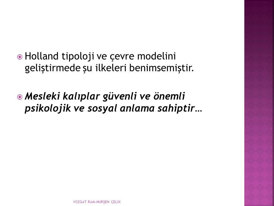 Holland tipoloji ve çevre modelini geliştirmede şu ilkeleri benimsemiştir.