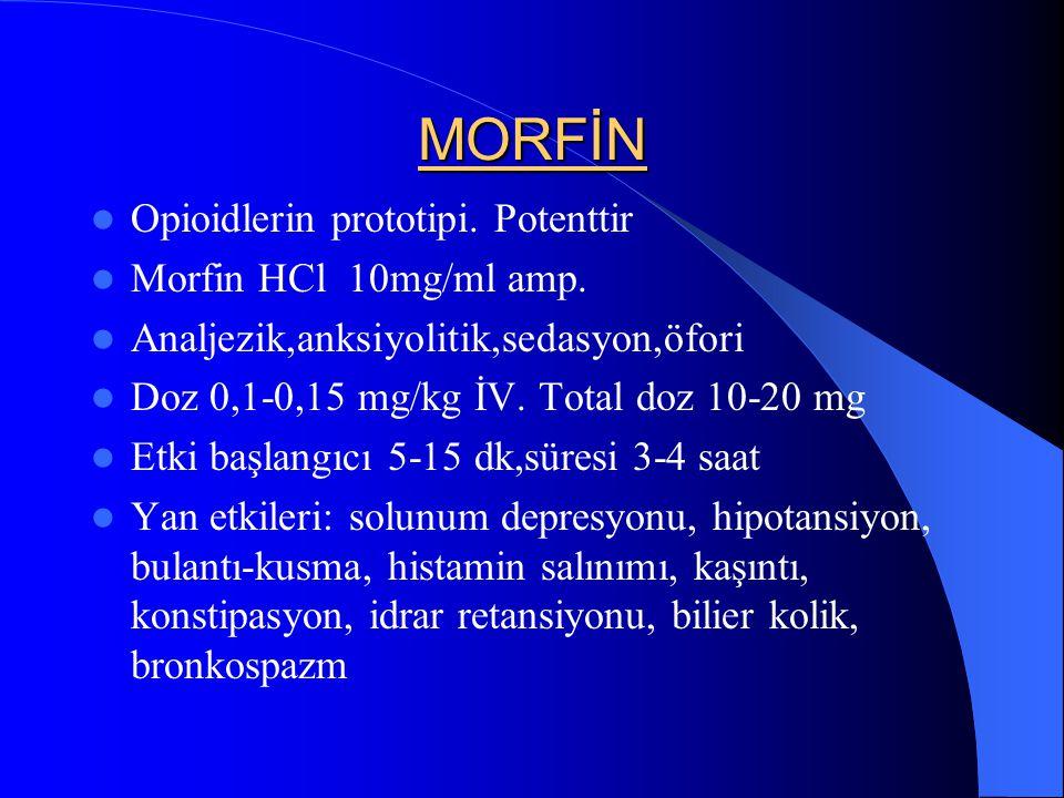 MORFİN Opioidlerin prototipi. Potenttir Morfin HCl 10mg/ml amp.