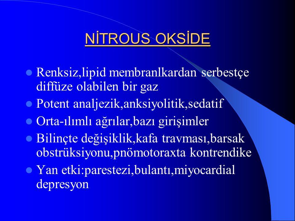 NİTROUS OKSİDE Renksiz,lipid membranlkardan serbestçe diffüze olabilen bir gaz. Potent analjezik,anksiyolitik,sedatif.