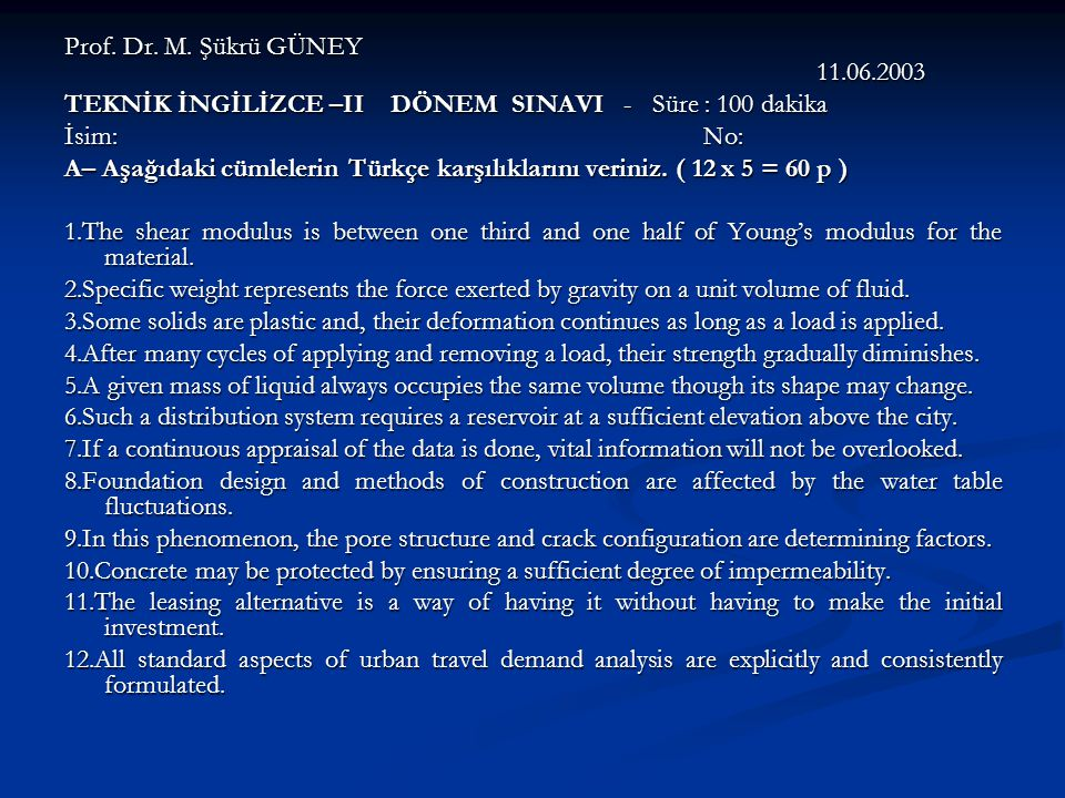 Prof. Dr. M. Şükrü GÜNEY 11.06.2003