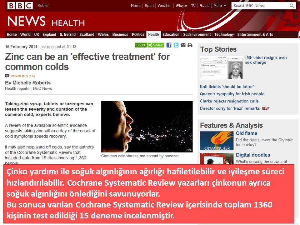 Çinko yardımı ile soğuk algınlığının ağırlığı hafiletilebilir ve iyileşme süreci