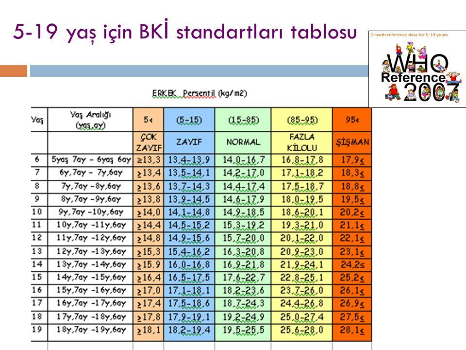 5-19 yaş için BKİ standartları tablosu
