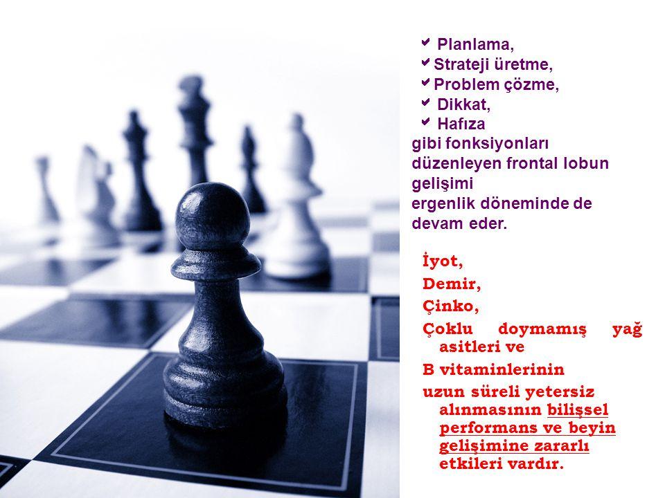  Planlama, Strateji üretme, Problem çözme,  Dikkat,  Hafıza gibi fonksiyonları düzenleyen frontal lobun gelişimi ergenlik döneminde de devam eder.