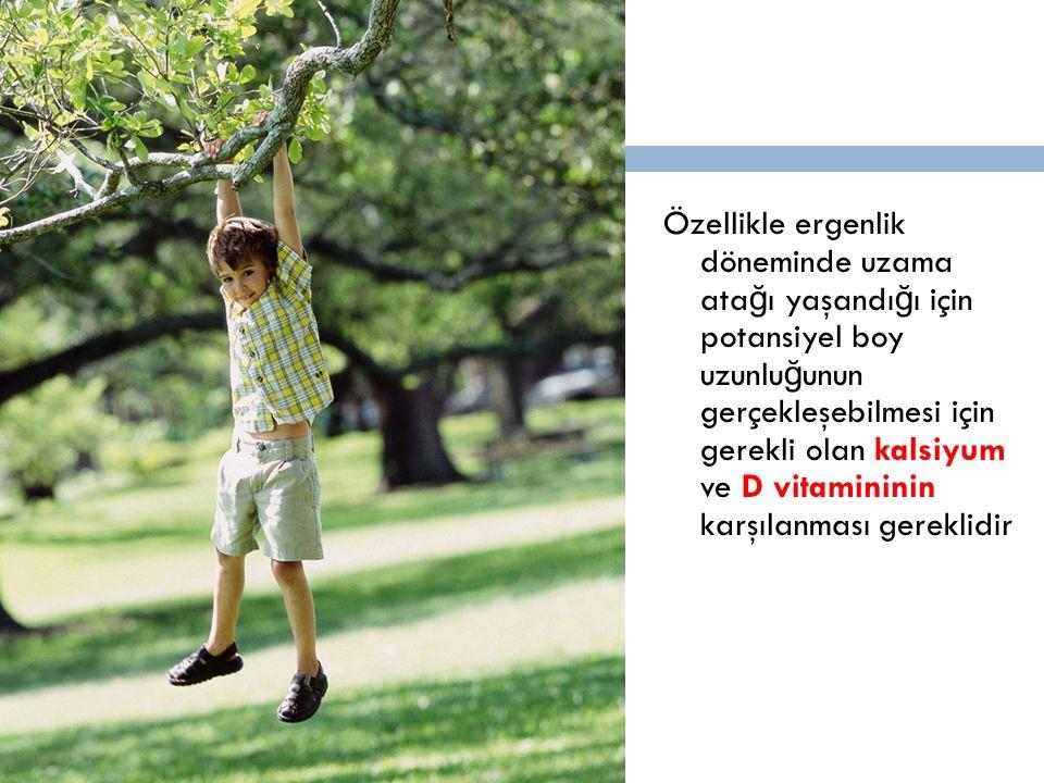 Özellikle ergenlik döneminde uzama atağı yaşandığı için potansiyel boy uzunluğunun gerçekleşebilmesi için gerekli olan kalsiyum ve D vitamininin karşılanması gereklidir